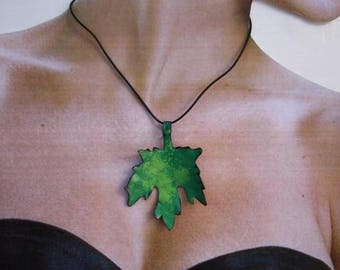 wine enamel on copper leaf pendant