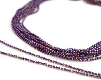 chain 50cm 1.2 mm metal purple and gold beads