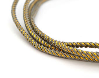 1 M of grey and gold twisted cord 3mm polyester