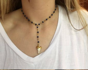 Navy blue shark tooth necklace