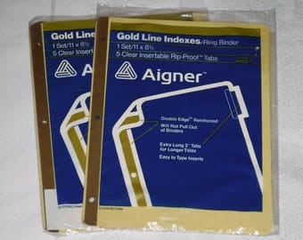 Back to School!  Aigner (Avery) Gold Line Indexes/Ring Binder 5 Clear Insertable Rip-Proof Tabs from 1983