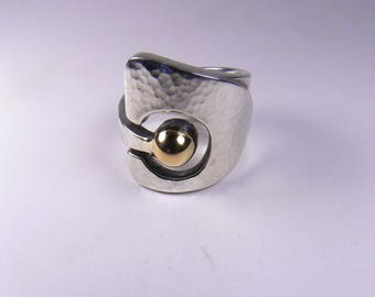 Ring gold and silver unique ring open