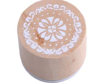 1 X wooden round stamp motif lace n ° 4