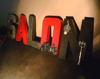 letters in papier mache 20.5 cm themed red and black custom-