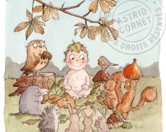40 invitations birth 'autumn' with square envelopes