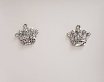 Set of 2 - finish silver Metal and rhinestones - Crown