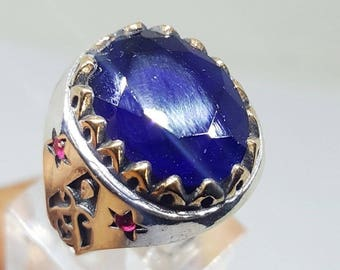 925 sterling silver men ring blue sapphire ruby stone handmade