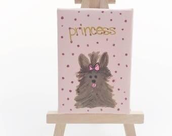 yorkie art, yorkshire terrier, yorkie wall art, yorkie wall decor, dog lover gift idea, dog art, mini art, hand painted dog art, yorkie dog