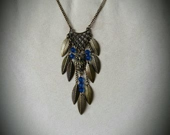 Bronze OWL Necklace blue faceted