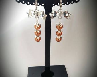 Copper beads and Silver Bow earrings