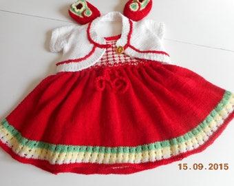 dress, bolero and matching booties (handmade) 3/4 months old baby