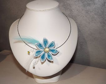 White and turquoise necklace and satin flower