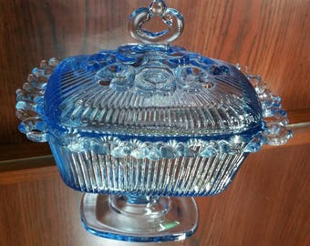 Vintage Blue Glass Pedestal Compote/Trinket/Candy Dish with Lid