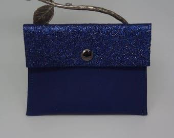 Navy blue leather card holder