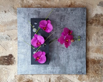 Grey floral array design with fuchsia orchids