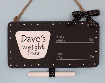 Personalised Weight Loss Plaque Sign, Chalkboard Countdown, Polka Dot, Scales Shape