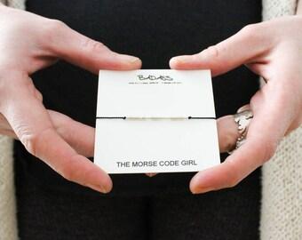 BADASS |... .| |.. .| ... ... Morse Code Bracelet - Sterling Silver Sassy Hidden Message Minimal Jewelry - Be Badass Everyday