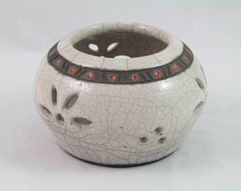 White candle deco dots red Raku firing