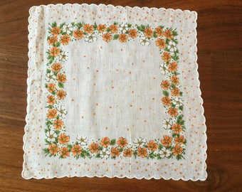 Vintage Cotton Handkerchief White with Orange Flowers