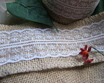 Lace burlap with lace, width 6cm