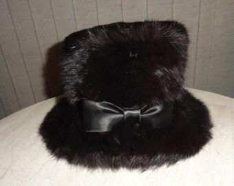 Black Genuine Fur Vintage Cloche Top Hat Steam Punk Bucket Union Made in the USA Randy Sue