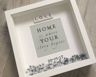 New Home Box Frame, New Home Gift, New House Gift, New Home Frame, New Home Housewarming Gift