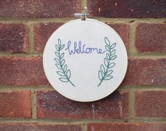 Welcome Embroidery Hoop, Wall Hanging
