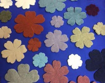 set of 10 flowers fleece