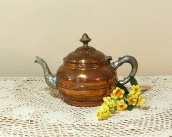 Copper Kettle with Pewter Handles & Pour Spout Scrollwork 19th Century Rochester Stamping Works New York Antique Victorian Copper Teapot