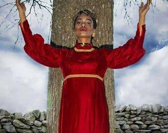 Red velvet vintage gown