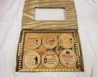 Vintage Drink Tray and Coaster Set