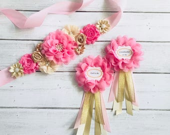 Pink and Gold Maternity Sash, Flower Sash, Reveal Party, Baby Shower , Gift, Keepsake, Photo Prop, Flower Girl Sash