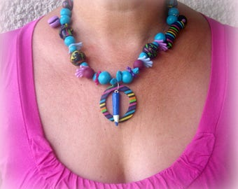 TOO original this set * turquoise chips, fimo beads