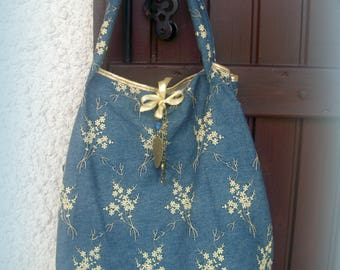 Denim bag and Golden + matching the necklace