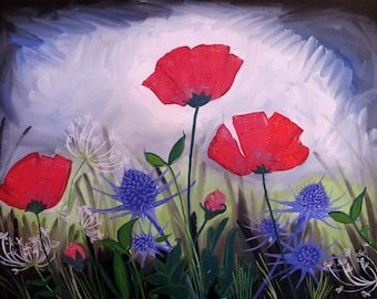 """painting """"poppies and Thistles"""" wild flowers deco"""