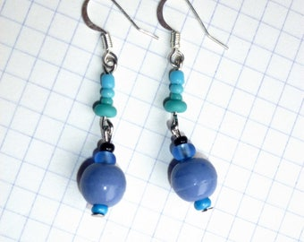Earrings * lavender and TURQUOISE * purple and blue beads