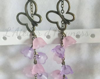 Bells Lucite flowers and bronze earrings