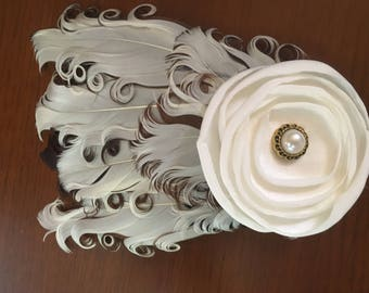 Feather Headband - Cream and Brown