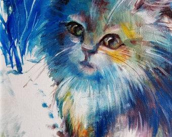 CatPortrait CatsOilPaintingOnCanvas WhiteCat AnimalOilPainting Animalportrait AnimalArt OilPaintingOfAWhiteCat GiftsForChild  GiftsForHer