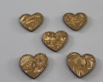 Set of 5 hearts gold glitter