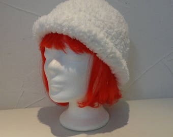 White super soft and warm hat crocheted by hand