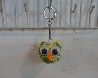 Keychain green owls (in crochet cotton)