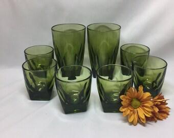 Square Bottom Bar Glasses Tumblers Hazel Atlas Avocado Green