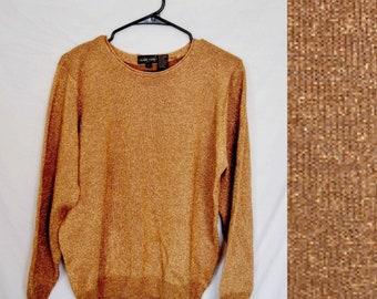 90s gold knit sweater / womens knit sweater / 90s women pullover light sweater