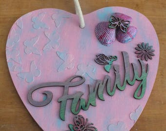 Wooden Heart Shaped Family Wall Plaque