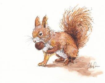 5x7 Original Squirrel Watercolor