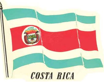 Vintage Style Costa Rica Flag  Central America  Travel Decal sticker