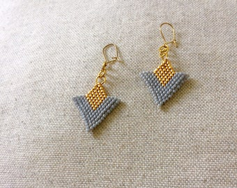 Earrings with gold and gray miyuki beads