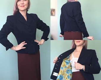 Vintage early 1950's tailored blazer, 1950's tailored blazer, 40's blazer, vintage blazer, navy blue tailored blazer