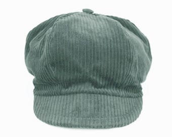 Velvet ribbed teal toddler newsboy cap